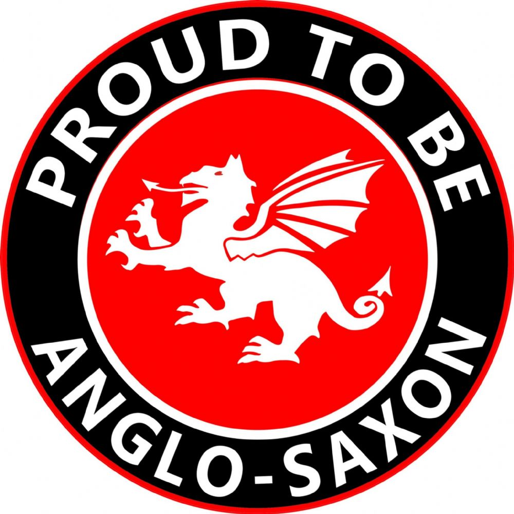 Proud To Be Anglo Saxon White Dragon Round England Car